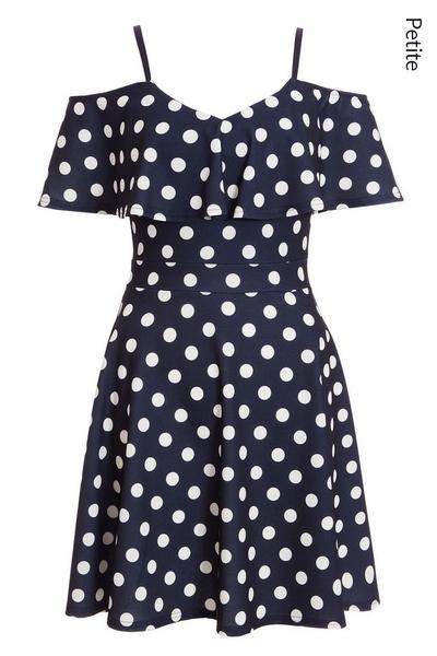 Petite Navy Polka Dot Frill Skater Dress